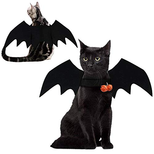 Fast and Good Pet Halloween Bat Costume, Cat Black Bat Wings with 2 Pcs Pumpkin Bell, Cat Halloween Collar Pet Apparel for Dogs Cats Rabbit