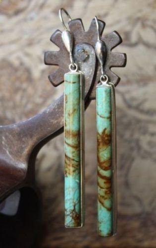 preeyanan Antique Jewelry Silver Turquoise Boho Ear Stud Hoop Dangle Wedding Earrings Gift by preeyanan