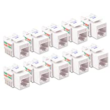 Cable Matters 10-Pack Cat6 RJ45 Punch-Down Keystone Jack in White