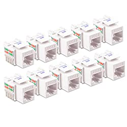 [Ul Listed] Cable Matters 10-pack Cat6 Rj45 Punch-down Keystone Jack In White