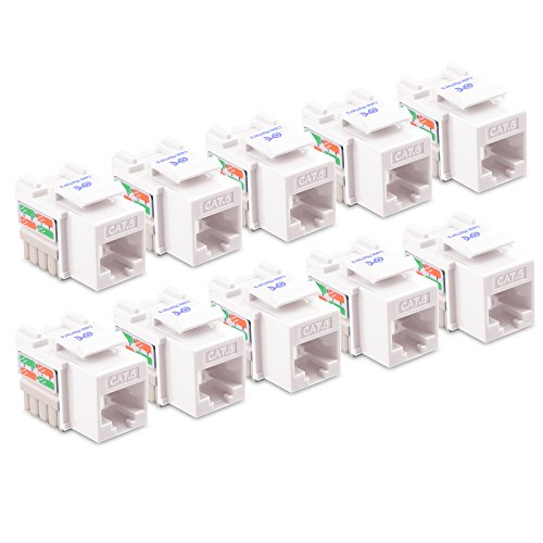 [UL Listed] Cable Matters 10-Pack Cat6 RJ45 Keystone Jack (Cat 6/Cat6 Keystone Jack) in White