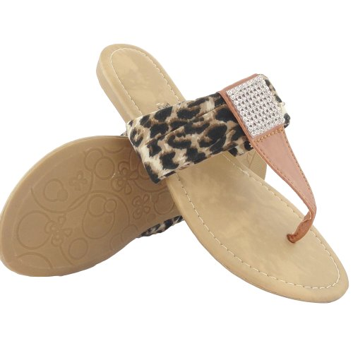 Women's Leopard Print Flat Thong Sandals W/ Rhinestones Brown , (Leopard Print Thong Sandal)