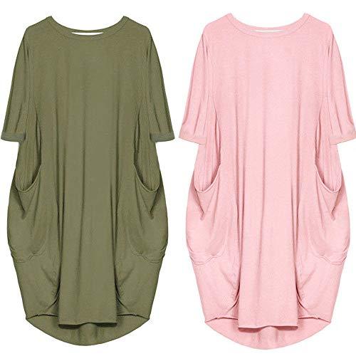 Plus avec Size Col Manches Femme T pour Rond Rose Chemise YANDW Casual Longue Cami Shirt Poche Robes 7WycnS6