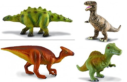 CollectA Realistic Prehistoric Dinosaur Baby Replica Set of 4 including T-Rex, Stegosaurus, Spinosaurus, Parasaurolophus Bagged Together Ready to Give!