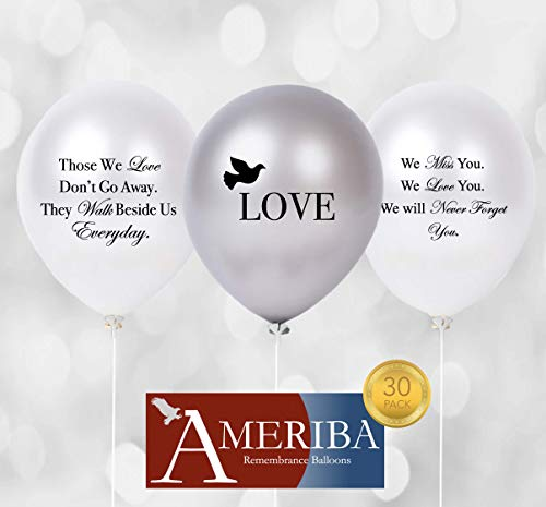 Biodegradable Remembrance Balloons: 30pc White & Silver Personalizable Funeral Balloons Plus 30 Balloon Holder Sets | Created/Sold by AMERIBA (Variety Pack, Black Writing with Sticks)]()