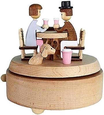 HMBYYHK5 Cajas Musicales Caja de música de Madera con café, Citas, Canciones, Historia de Amor, Mecanismo, Cuerda Musical, Caja de Regalo for Navidad y San Valentín Caja Musica Manual: Amazon.es: Hogar