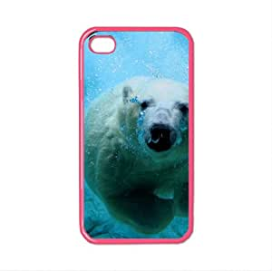 polar bear 3 iphone case for 4 and 4s plastic luminous pink color