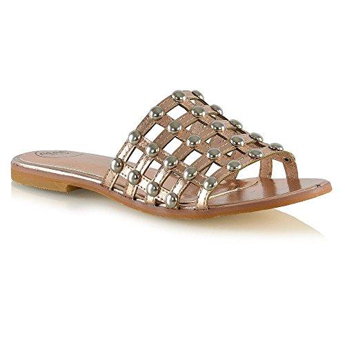 ESSEX GLAM Damen Flach Sandalen mit Ohrstecker Gladiator Käfig Rutschen Urlaub Schuhe Bronze Metallisch