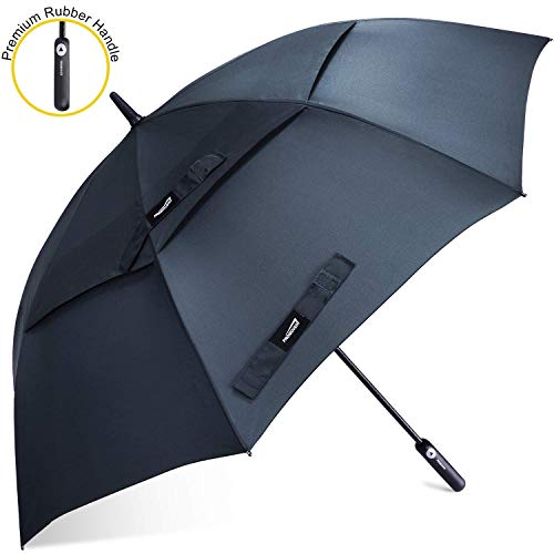 Prospo 62 Inch Automatic Open Golf Umbrella Features Ergonomic Rubber Handle - Extra Large Double Canopy Vented Windproof Stick Umbrella(Dark Blue)