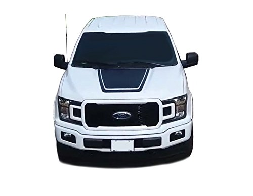 (MoProAuto Pro Design Series Lead Hood : 2015 2016 2017 2018 2019 Ford F-150 Center Hood Special Edition Stripes Vinyl Graphic 3M Decal Kit (FITS All Models) (Color-3M 16812 Matte Black))
