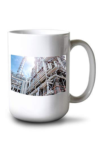 Lantern Press Oil & Gas Refinery Plant with Industrial Equipment, Pipeline Steel, Oil Storage Tank at Sunrise A-9015231 (15oz White Ceramic Mug) from Lantern Press