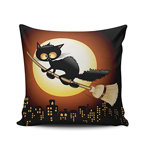 AIHUAW Home Decorative Cushion Covers Throw Pillow Case Halloween Black Cat Cartoon Flying on Witch Broom Pillowcases Square 22x22 Inches Double Sided Printed (Set of 1)]()