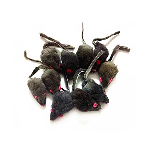 Furry Mouse Toy (12 Piece Pack Rattle Furry Mice Cat Toy Realistic Fur Mice Squeak Toys, Color Varies)