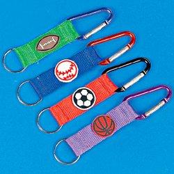 Metallic Clip Sport Ball Key Chains (1 dozen) - Bulk [Toy]