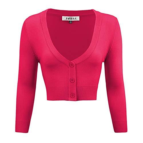 YEMAK Women's Cropped 3/4 Sleeve Bolero Button Down Cardigan Sweater CO129-RPK-M Rose Pink