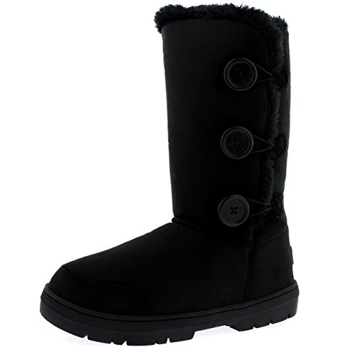 Holly Womens Triplet Button Waterproof Winter Snow Boots   Black   9   Bla40 Aea0153