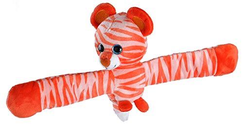Wild Republic Scented Huggs Tiger Plush Toy, Slap Bracelet, Stuffed Animal, Kids Toys, Tangerine, 8″