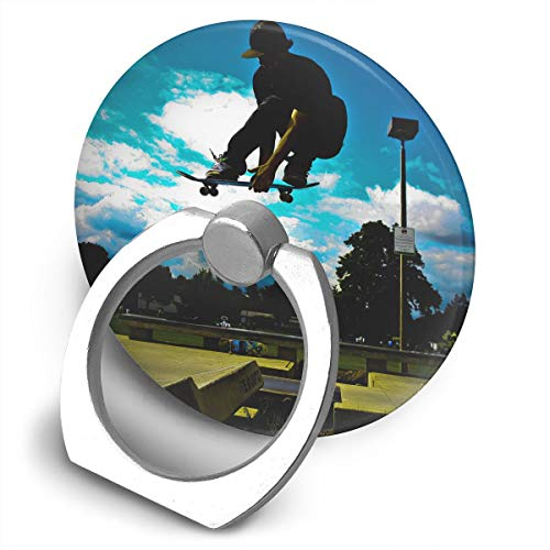 Round Finger Ring Cell Phone Holder Skate Pattern 360 Degree Rotating Stand Grip -
