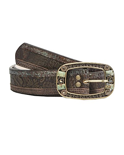 Leatherock Intricate Jean Belt With Complimentary Leathers, A Buckle Finished With Turquoise-dyed Jasper And Swarovski by Leatherock