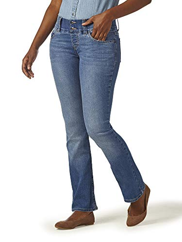 Riders by Lee Indigo Women's Pull on Waist Smoother Bootcut Jean, Mid Shade, 8A