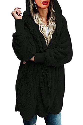 Womens Thick Warm Furry Hooded Cardigan Plush Jacket Coat Outwear with Pocket Black XL