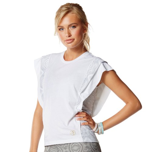 Zumba Fitness - Camiseta de manga corta para mujer, diseño azteca blanco - blanco