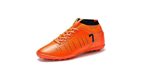 KANGLE Tobilleras Altas Botines de fútbol para Hombres Botas de fútbol Botines y Picos Cortos Zapatos de fútbol para Hombre Zapatillas de Deporte Césped Interior Futsal,Naranja,35: Amazon.es: Zapatos y complementos