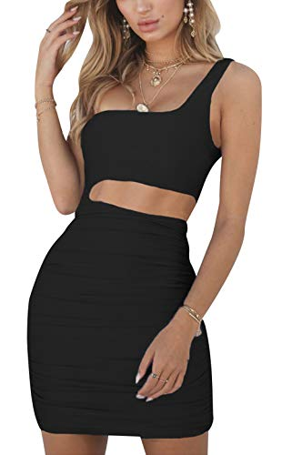 2beaf6eb77d Rozegaga Womens Sexy One Shoulder Sleeveless Bodycon Cut Out Mini Party  Dress Black Medium
