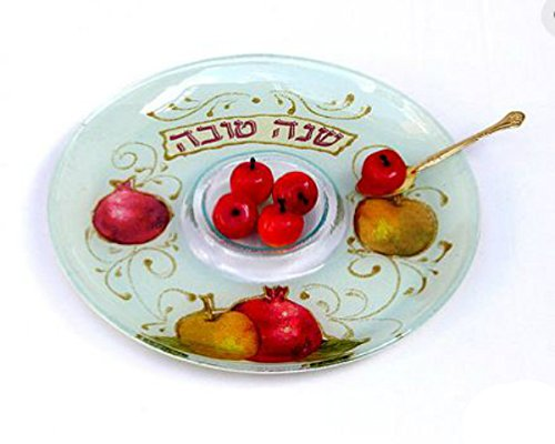 Rosh Hashanah Apple and Honey Dish, Hand Painted Glass in Israel, Apple Design by Quality Judaica