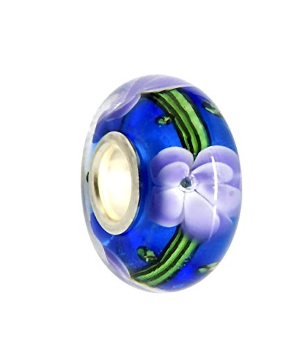 J&M Handmade Blue Murano Glass Charm Bead with Violet Flower for Charm - Pandora Violet