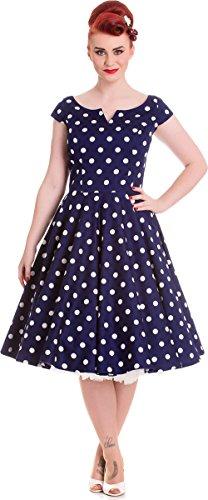 Antoinet Damen Navyblau mit Bunny Polka Swing weißen Hell Dots Dots Punkte Kleid RAtZnxw