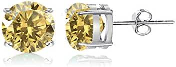 Sterling Silver Citrine Round Prong-Set Stud Earrings