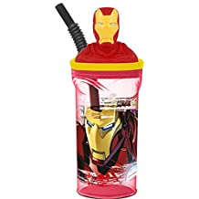 Kids 3D Character Drinking Tumbler Water Bottle With Expanding Straw (IronMan)