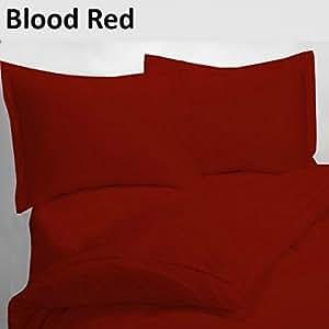 Classic juego de funda de edredón de Set + 1pc sábana bajera ajustable elegante 400TC sangre rojo sólido UK pequeña sola larga 100% algodón egipcio {18Inche de profundidad}–por TRP hojas–A28