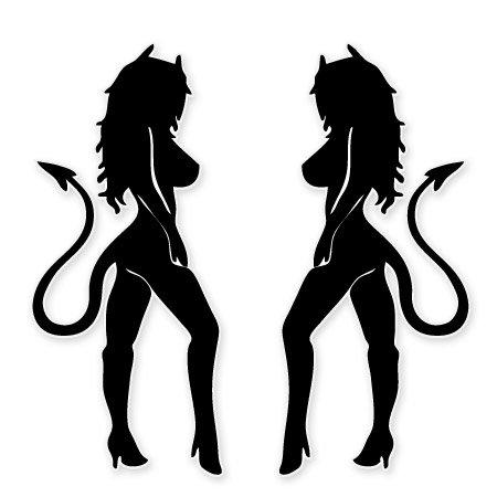 Sexy Devil Girls Set of 2 Vinyl Stickers - SELECT SIZE