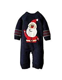 Mornyray Newborn Baby Boy Girl Sweater Fleece-Lined Christmas Romper Outfit