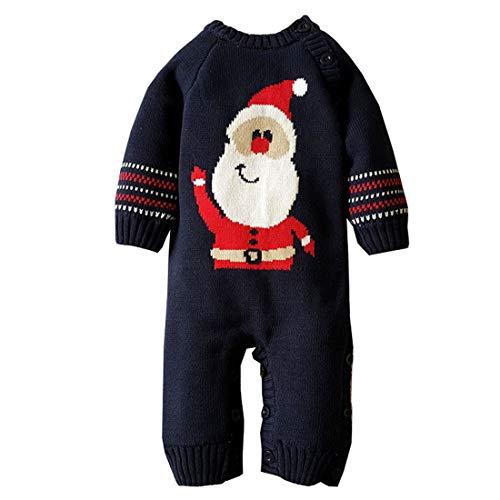 Mornyray Newborn Baby Boy Girl Sweater Fleece-Lined Christmas Romper Outfit Size 6-12M (Dark Blue)