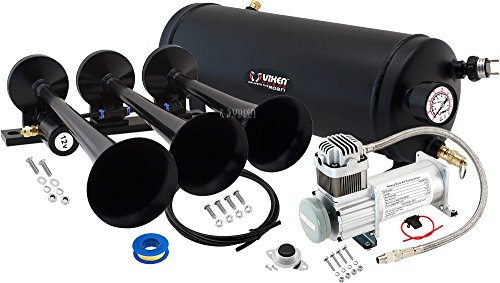 Vixen Horns Loud 149dB 3/Triple Black Trumpet Train Air Horn with 1.5 Gallon Tank and 150 PSI Compressor Full/Complete Onboard System/Kit VXO8115/3118B (Truck Complete Wiring Set)