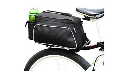 Roswheel Texture Series Cycling Bicycle Bike Pannier Rear Seat Bag Rack Trunk - Also as Shoulder Bag or Handbag Black (Cycling Bag)