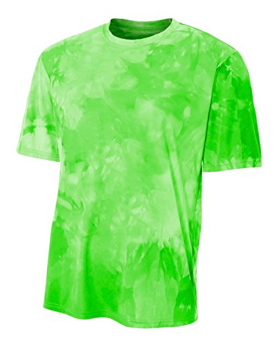 Clouds Mens Tee - Lime Bright Green Men's Adult Large Cloud Dye Tech Moisture Wicking Cool Base Tee