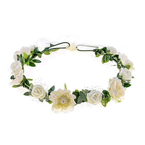 Ivory Rose Floral - Love Sweety Girls Boho Rose Floral Crown Wreath Wedding Flower Headband Headpiece (Ivory)