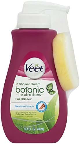 Veet Botanic Inspirations In Shower Cream, 13.5 fl Oz., for Legs & Body (Packaging May Vary)