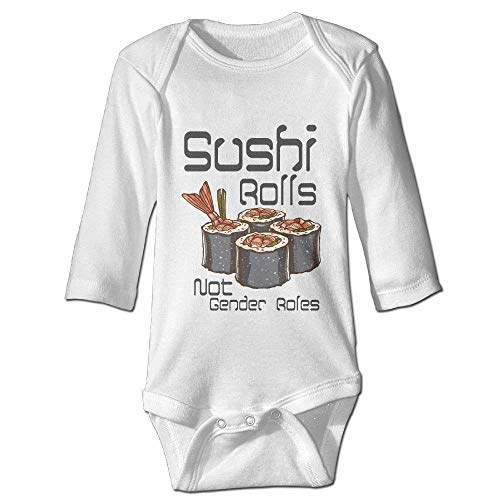 Sushi Rolls Not Gender Roles Baby Unisex Bodysuits Cotton Onesies Long Sleeve Newborn White -