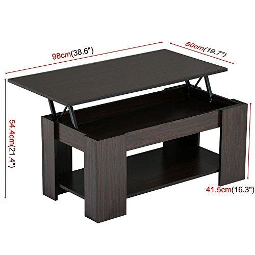 Topeakmart modern wood lift up top coffee table with under for Coffee table with shelf underneath