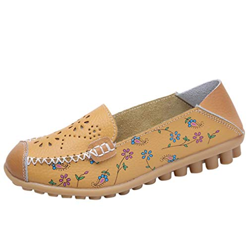 Femmes Décontractée Brodé Chaussures Bateau Bateau léger Plat léger extérieur - Chaussures Pois BaZhaHei Jaune