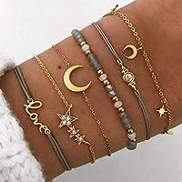 Edary Juego de pulseras de estrella y luna con cristales dorados personalizados, cadena hecha a mano, cadena de mano con…