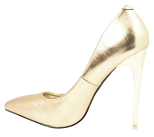 Elara Damen Pumps | Trendige Spitze Stilettos | High Heels| chunkyrayan Gold Jeez