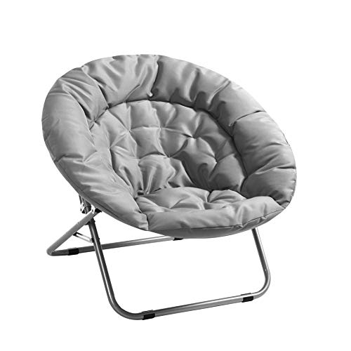 Urban Shop Canvas Oversized Saucer Chair, Grey