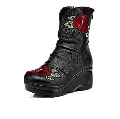 Frauen Martin Stiefel Stiefel Stiefel Leder Wedges Plattform Stiefel in der Rückseite der Reißverschluss Stiefel High Heel und Baumwolle Stiefel Winter d1b754