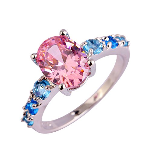 Psiroy Women's 925 Sterling Silver 2ct Pink Topaz Filled Ring